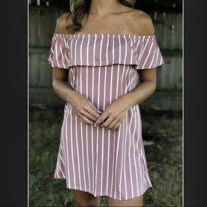 Dresses & Skirts - Off the shoulder mauve white stripe shift dress